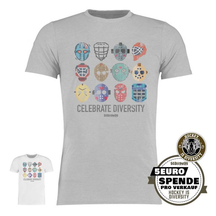 SCALLYWAG® Eishockey T-Shirt Hockey is Diversity in Hellgrau