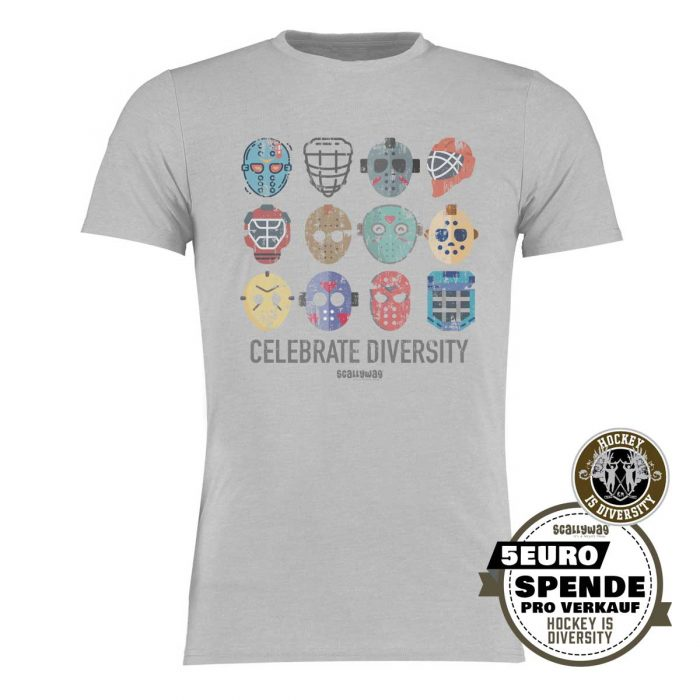 SCALLYWAG® Eishockey T-Shirt Hockey is Diversity in Hellgrau mit Spende