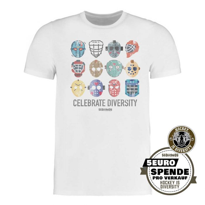 SCALLYWAG® Eishockey T-Shirt Hockey is Diversity in Weiß