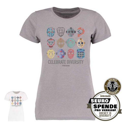 SCALLYWAG® Eishockey T-Shirt Hockey is Diversity in Hellgrau für Frauen mit Spende