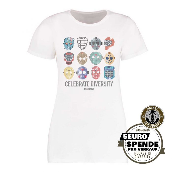 SCALLYWAG® Eishockey T-Shirt Hockey is Diversity in Weiß für Frauen