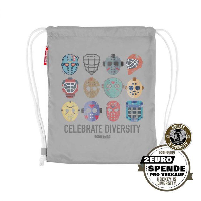 SCALLYWAG® Eishockey Gymsack Hockey is Diversity in Hellgrau