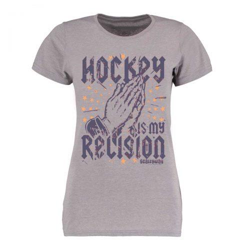 Eishockey T-Shirt von SCALLYWAG® Modell RELIGION Girls Light Grey