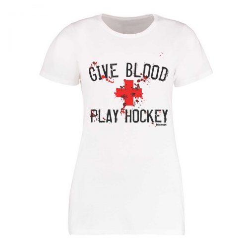 Eishockey T-Shirt von SCALLYWAG® Modell GIVE BLOOD Girls Weiß