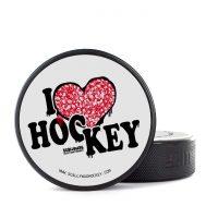 Eishockey Puck von SCALLYWAG® Modell I LOVE HOCKEY.
