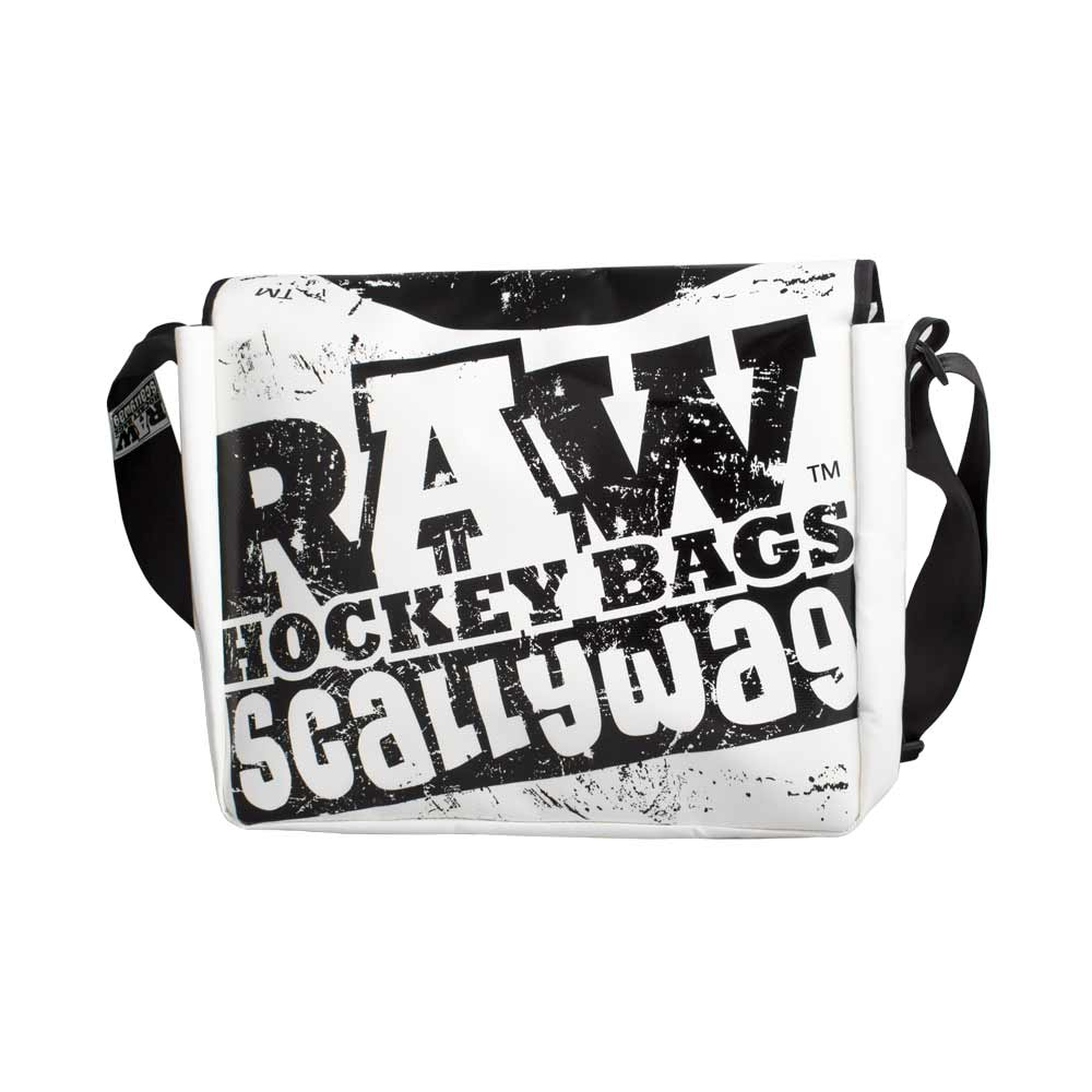 Eishockey Messenger Bag von SCALLYWG® Modell RAW HOCKEY. Weiß.