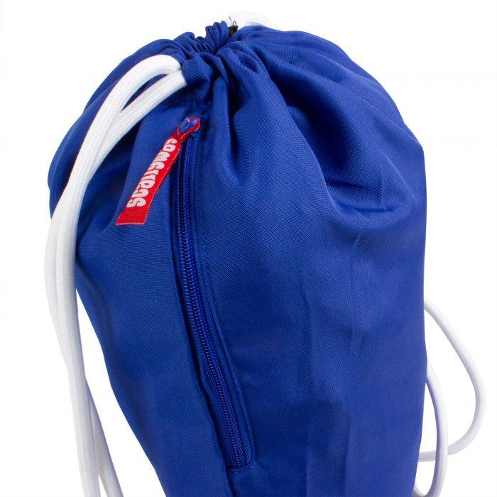 Scallywag® Eishockey Gymsack blau, Ansicht Reissverschluss.