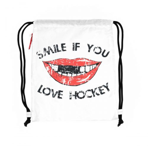 Scallywag® Eishockey Gymsack Modell SMILE in weiß.