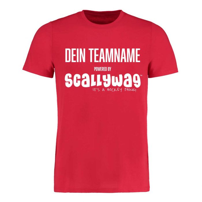 Eishockey T-Shirt von SCALLYWAG® Modell SPONSORED T-SHIRT rot: Eishockey Shirt bedrucken nur 19,95€