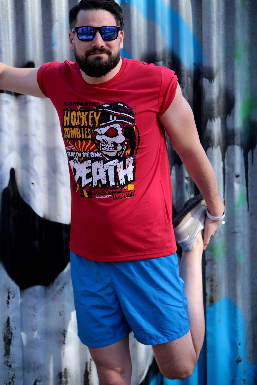 SCALLYWAG® Eishockey T-Shirt HOCKEY ZOMBIE in rot.